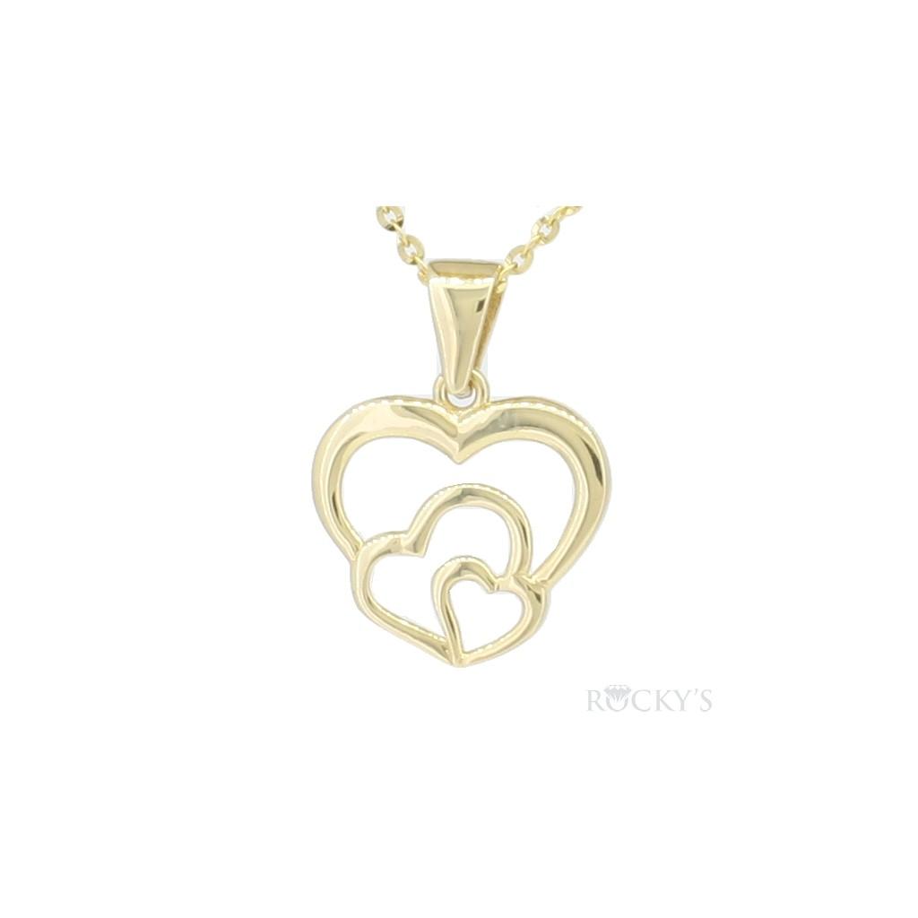 10k Yellow plain gold heart pendant - 38767