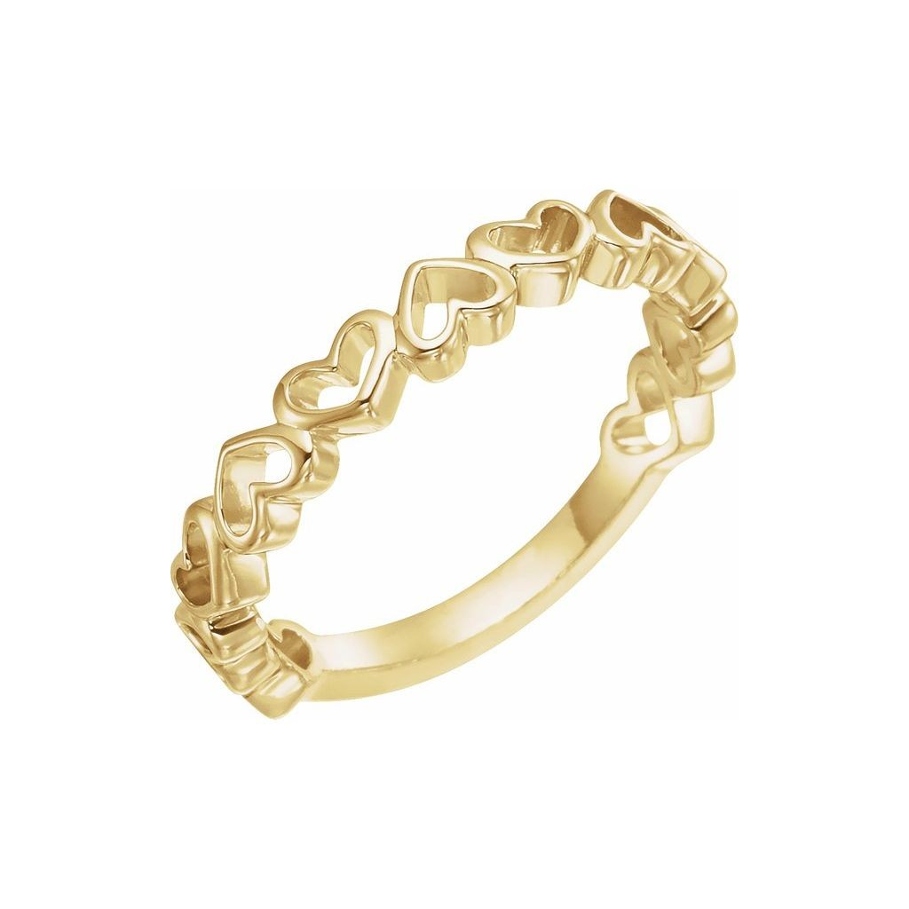14k yellow gold ring with heart design
