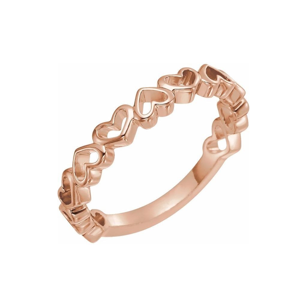 14k rose gold ring with heart design
