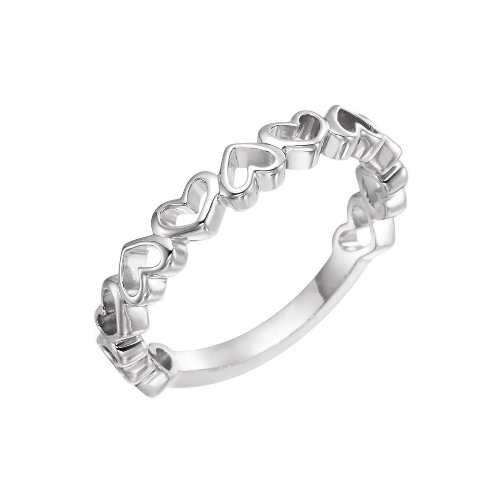14k white gold ring with heart design