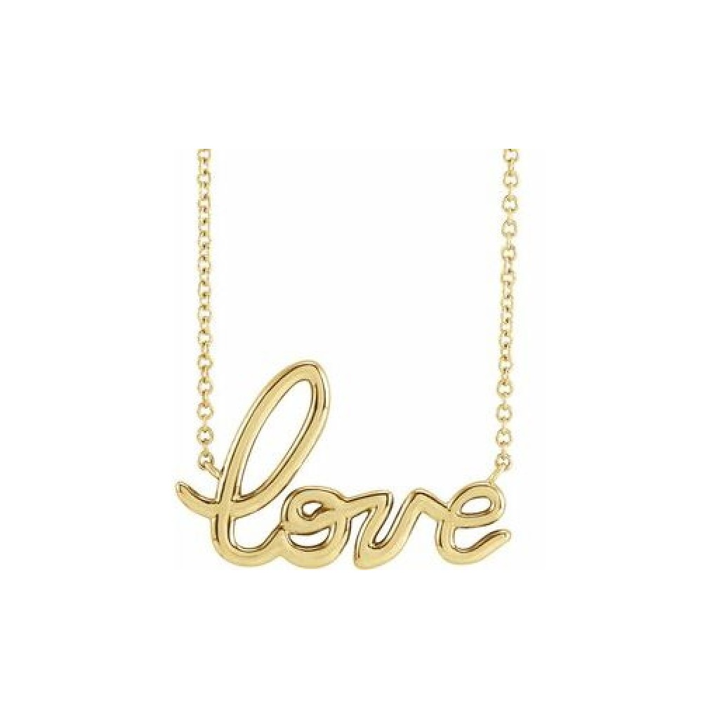 14k yellow gold love letter necklace