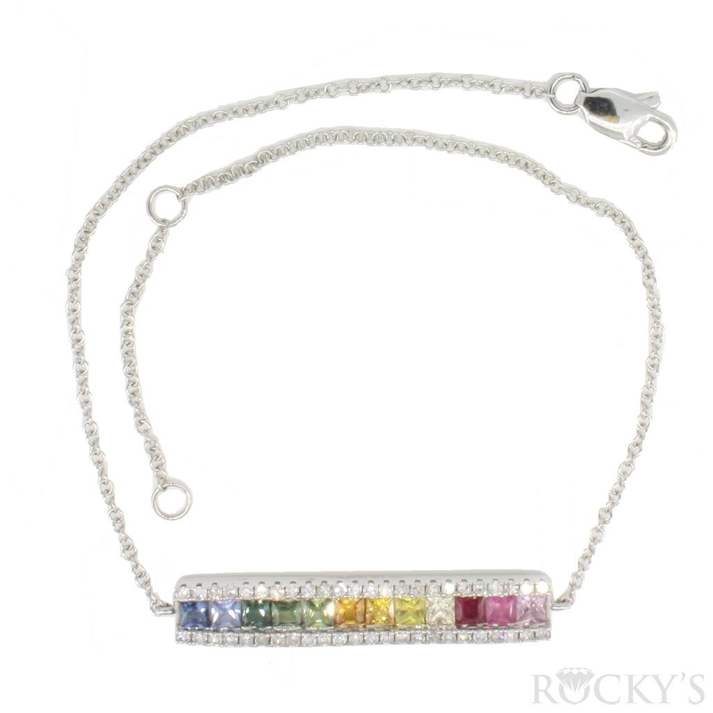 14K white gold multi-sapphire bracelet and diamonds 1.11ct