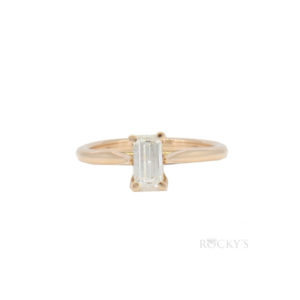 14k rose gold engagement ring with 0.51ct emerald cut