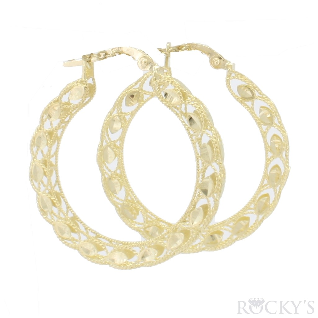 10k yellow gold hoops earrings- 39755