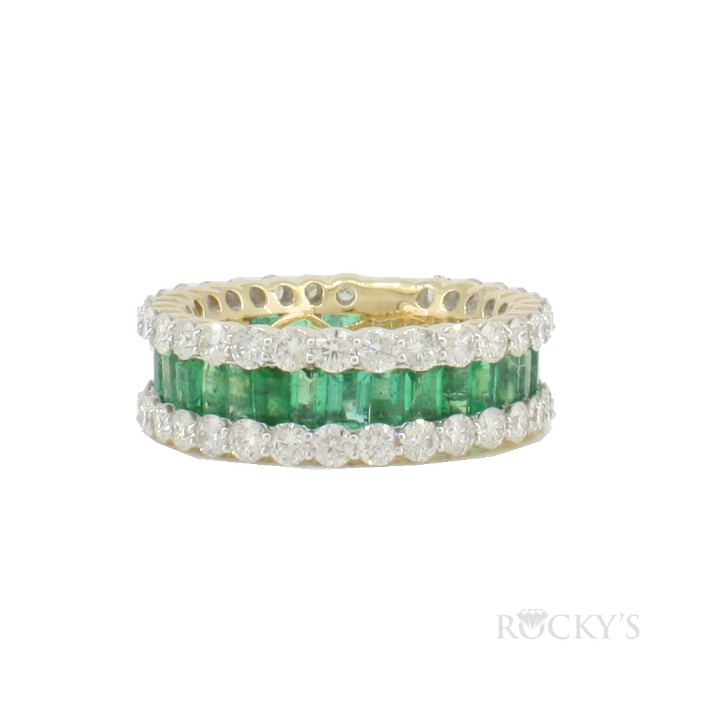14K yellow gold eternity emerald band with diamonds total 5.62ct