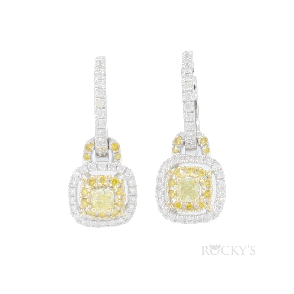 Yellow and white diamonds dangling earrings with 1.23ct