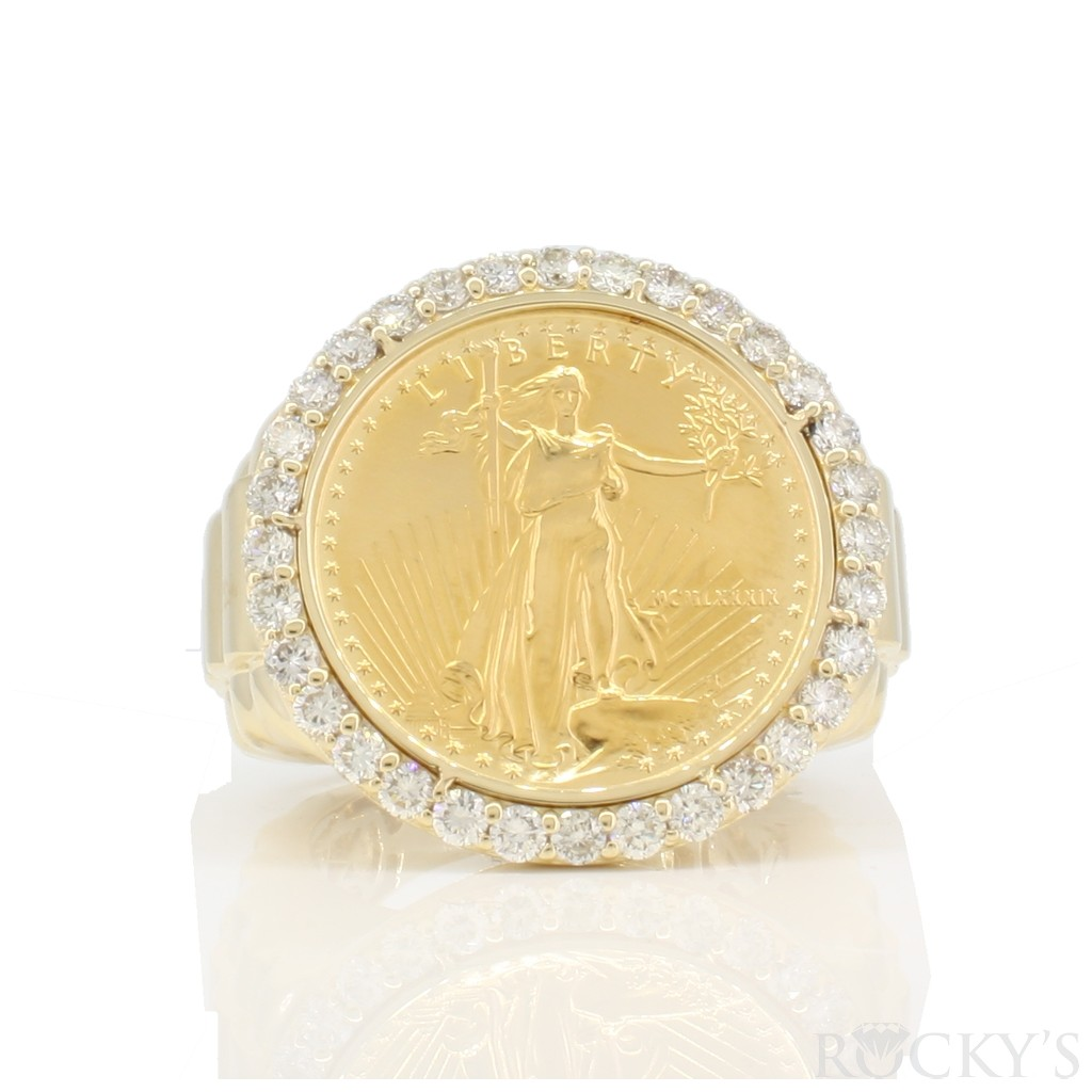 14/24k American eagle coin men's ring with 1/4oz and 1.50ct diamonds