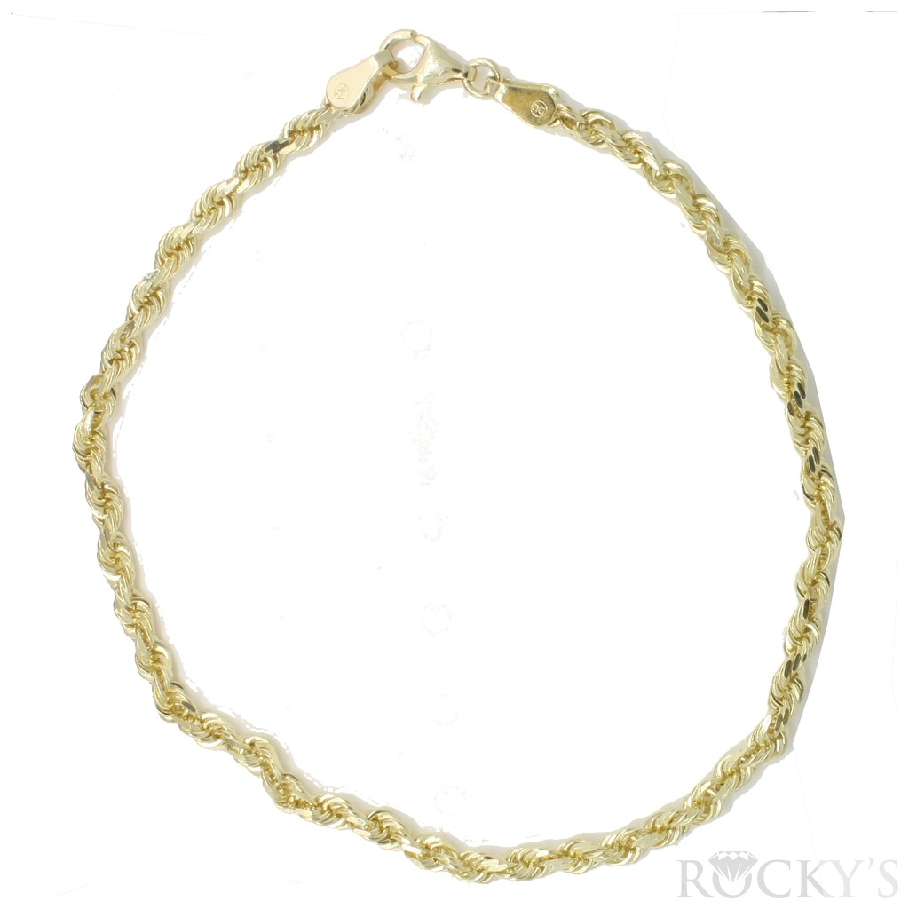 10k yellow gold rope link anklet