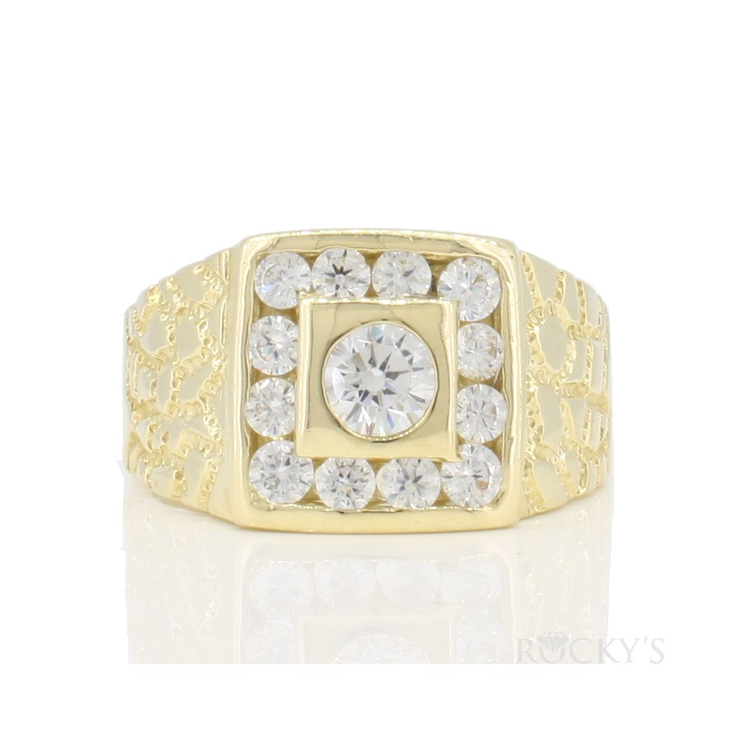 10k yellow gold men's ring with cubic zirconias
