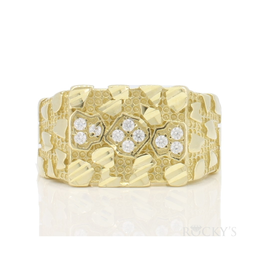 10k yellow gold ring with cubic zirconias