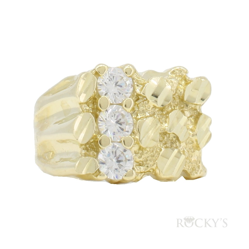 10k yellow gold nugget ring with cubic zirconias