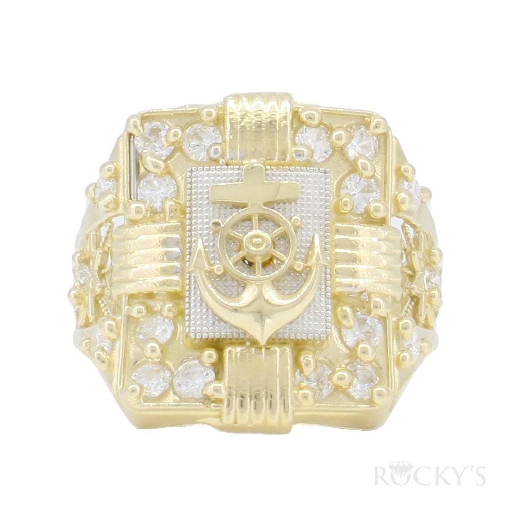 10k yellow gold anchor ring for men