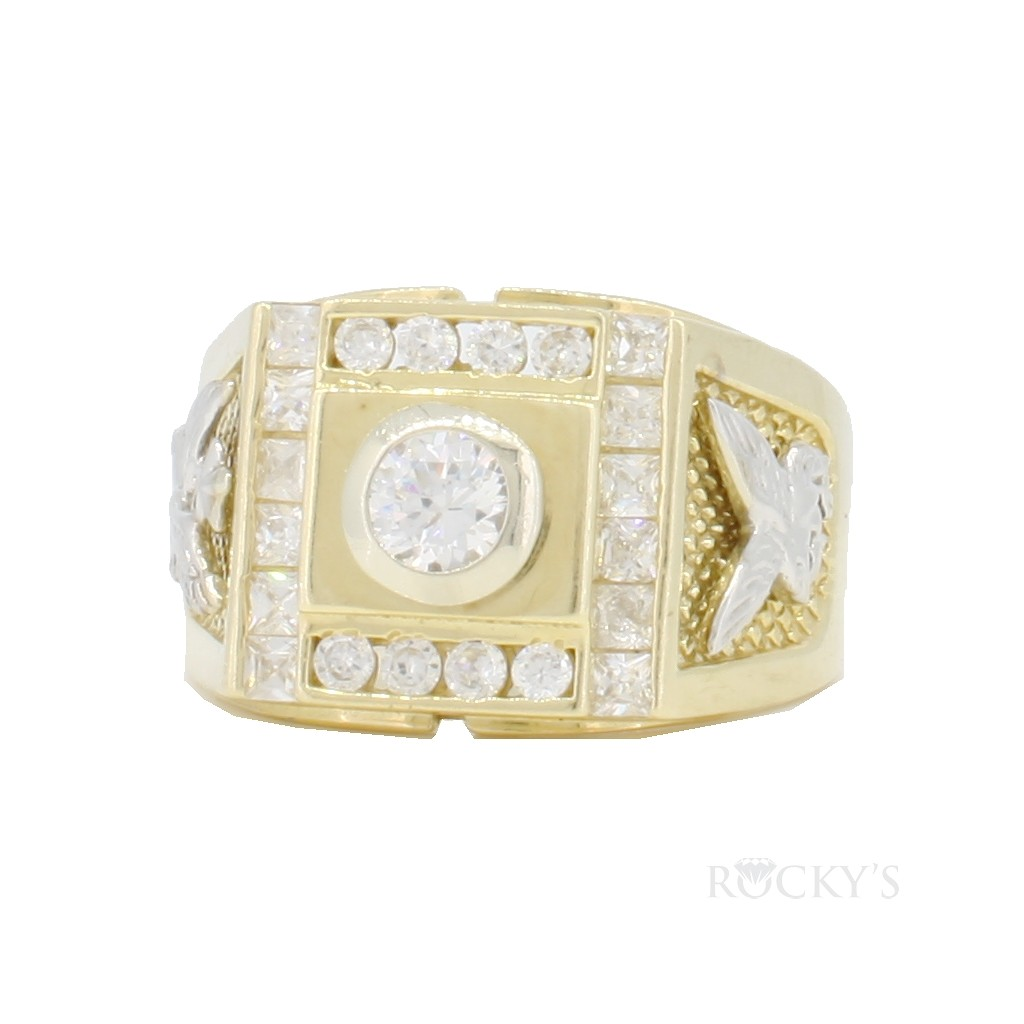 10k yellow gold eagle ring for men
