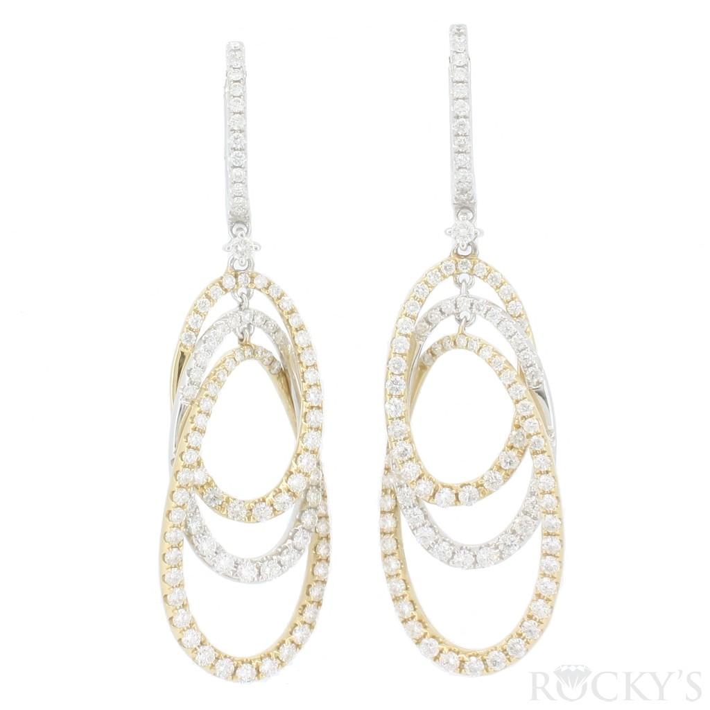 14K two tone dangling diamond earrings