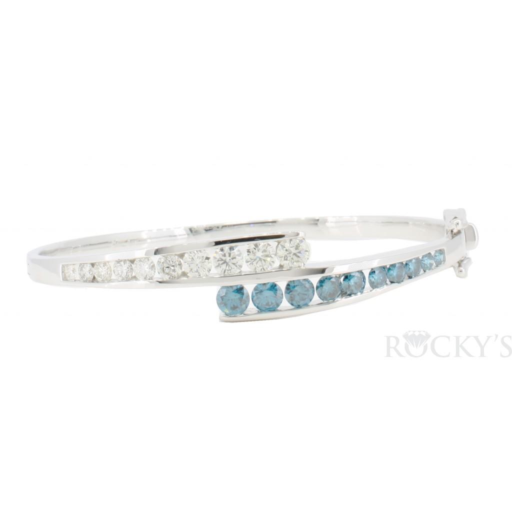 14k white gold blue and white diamonds bangle bracelet