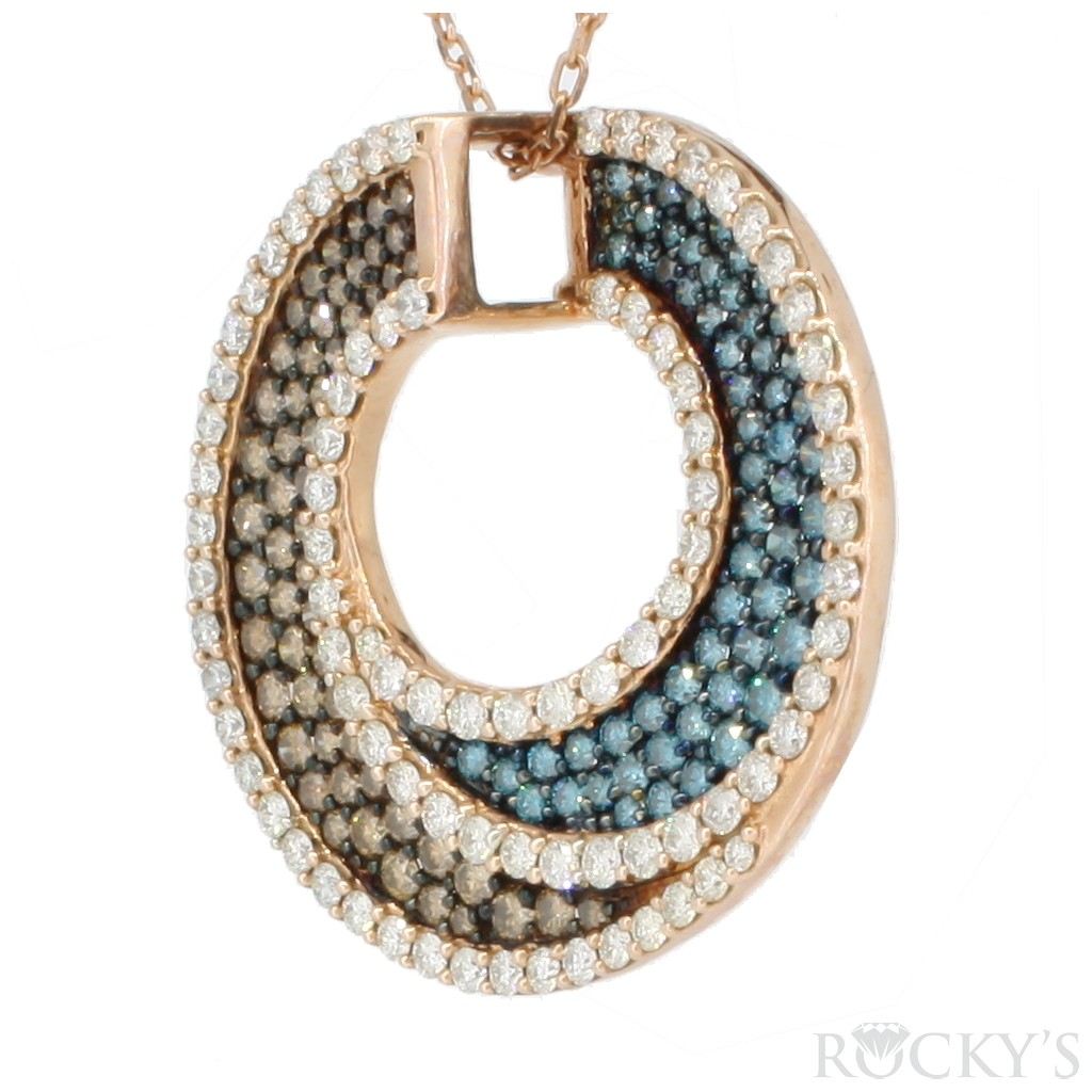 14K rose gold blue, white and chocolate diamonds pendant with 3.70ct