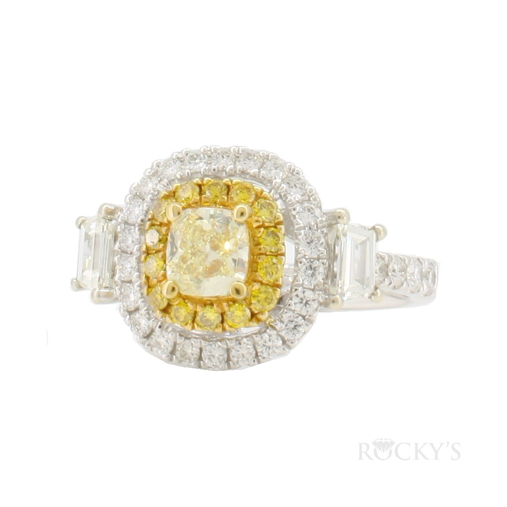 14k white gold yellow and white diamonds ring with 1.42ct