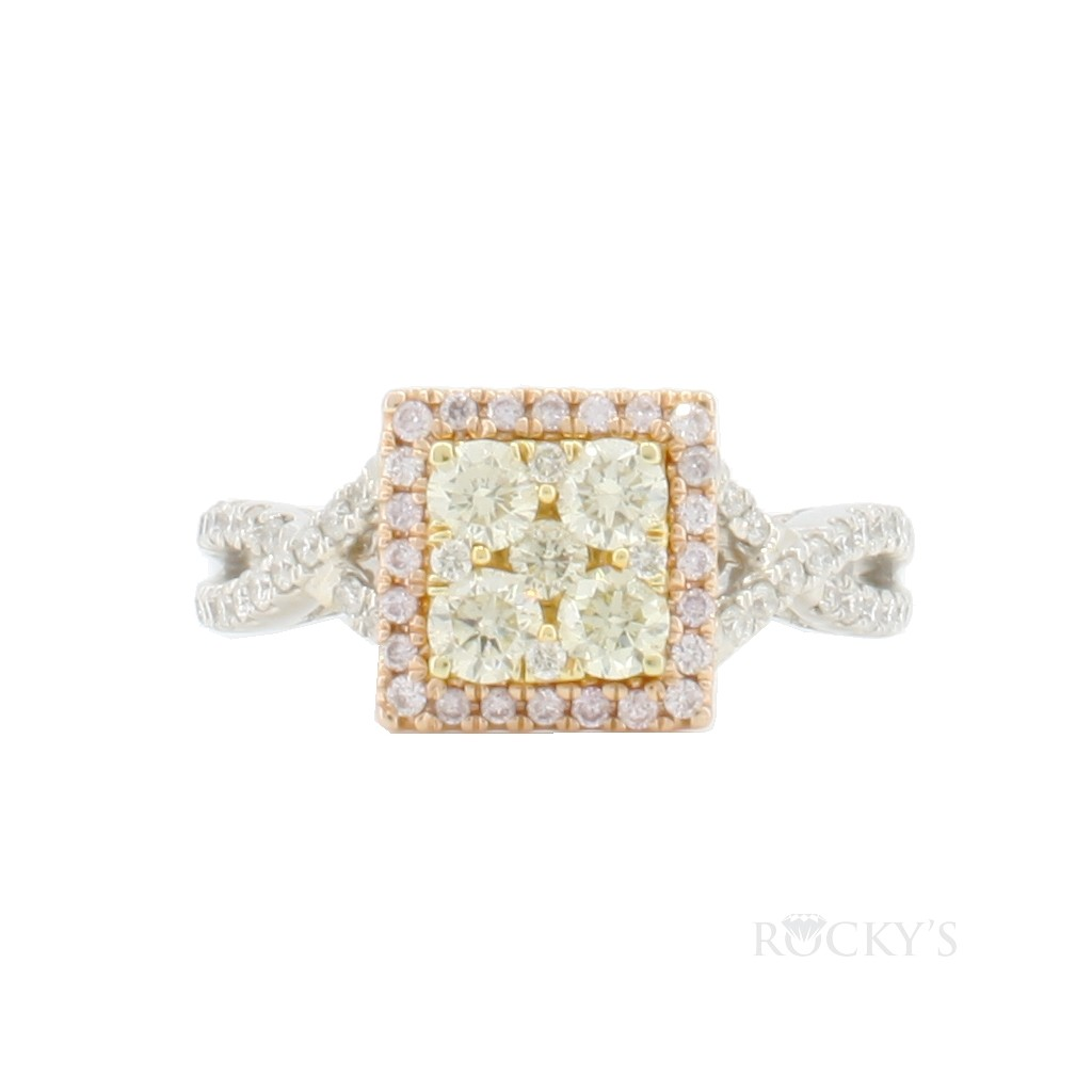 14K white gold yellow and white diamonds ring with 1.10ct