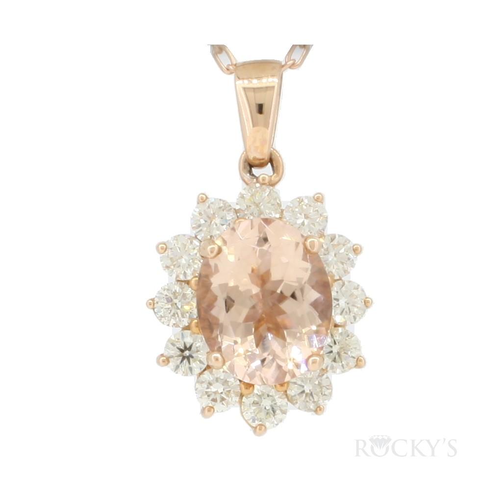 14k rose gold morganite pendant with white diamonds