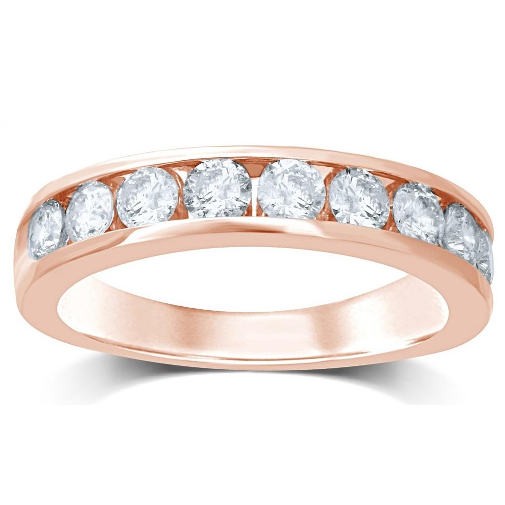 14k rose gold wedding diamond band with 0.27ct