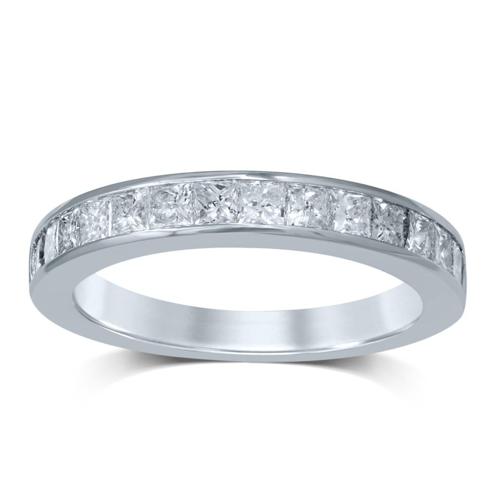 14k white gold diamond wedding band princess cut with 1.00ct