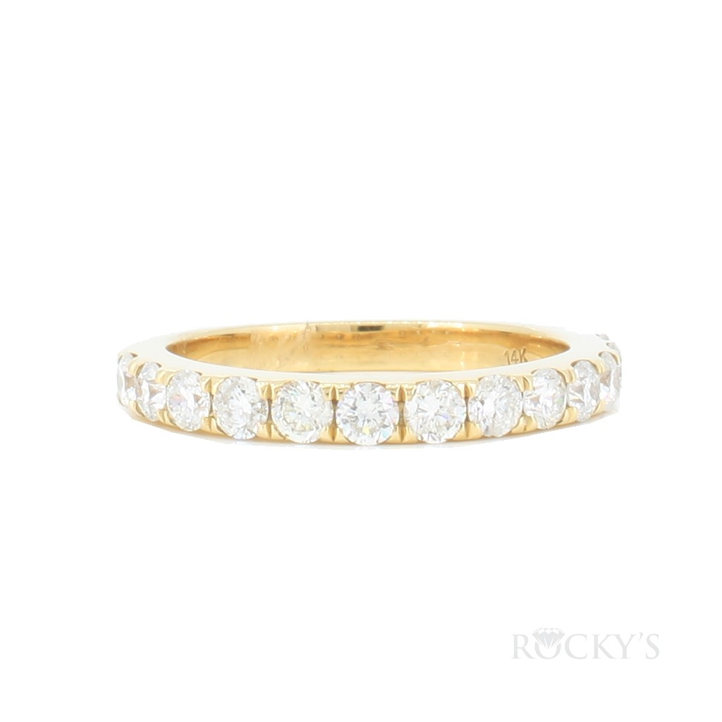 14K yellow gold diamond wedding band with 1.00ct