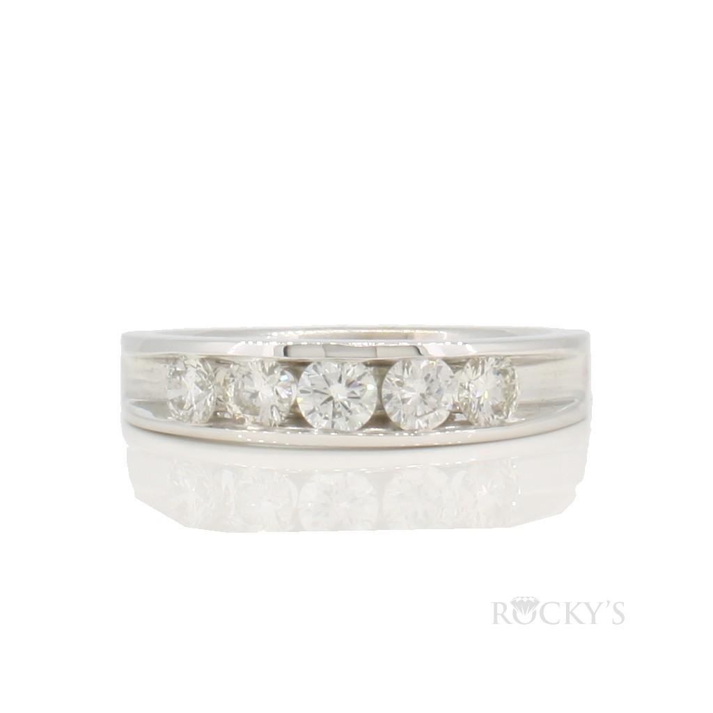 14K white gold wedding diamond band with 0.74ct