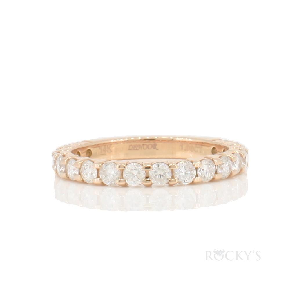 14k rose gold wedding diamond band with 1.00ct